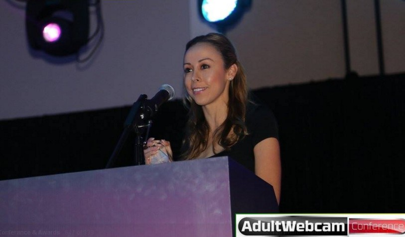 Shirley Lara CEO of Chaturbate accepting Award for Best Overall Adult Webcam Site