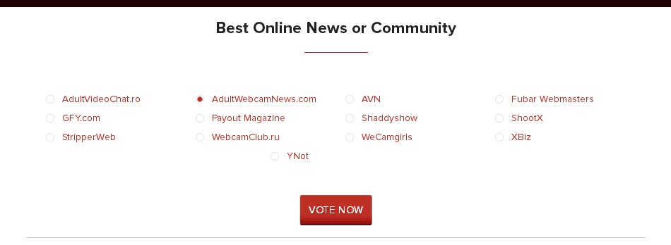 AW Awards Category Best Adult Webcam News or Community Site