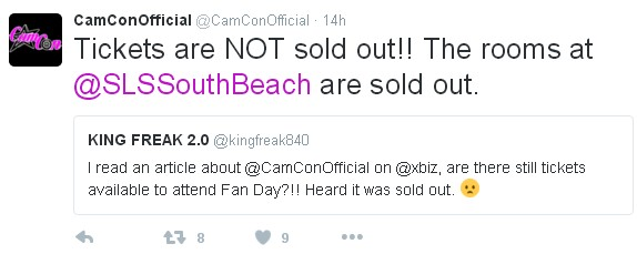CamCon twitter indicates tickets are NOT sold out, XBIZ adult news site suggest in their headline that the event is sold out.