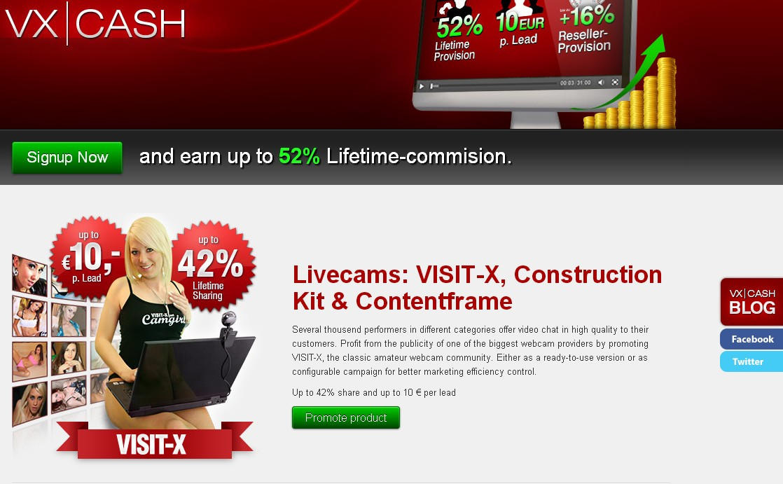 vxcash.net is the affiliate program for the top German Adult Webcams Program.