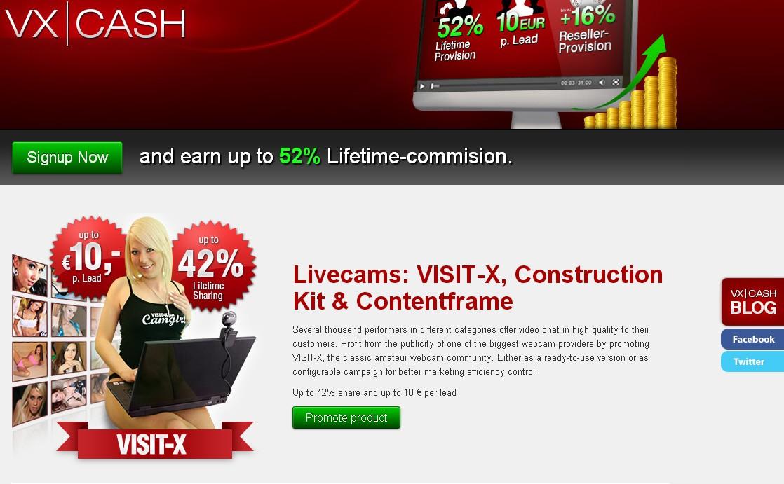 vxcash.net is the affiliate program for the top German Adult Webcams Program.