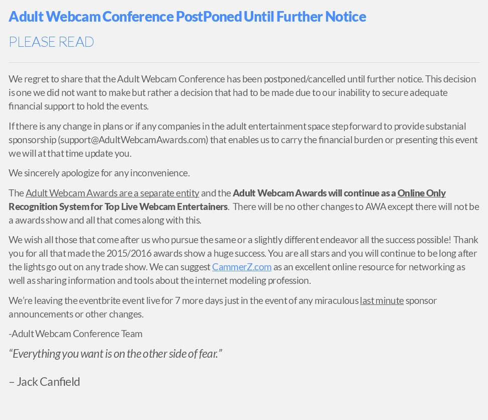 Adult Webcam Conference Press Release