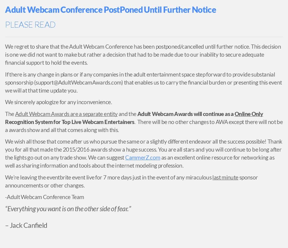 Adult Webcam Conference Press Release